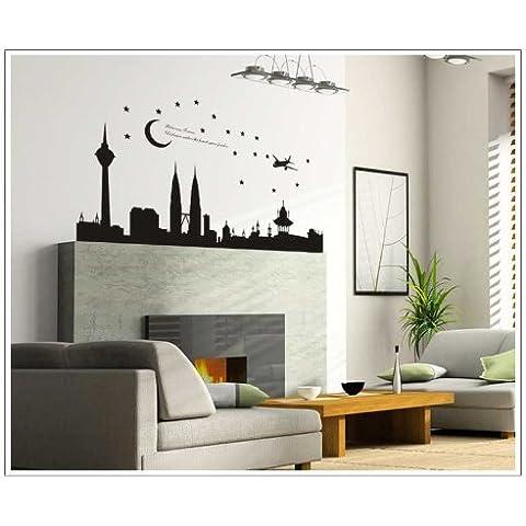 De la ciudad de escena nocturna salala Avión Luna y Estrella Negro Pegatinas de Pared para dormitorio o sofá o chimenea Decoración Para La Pared