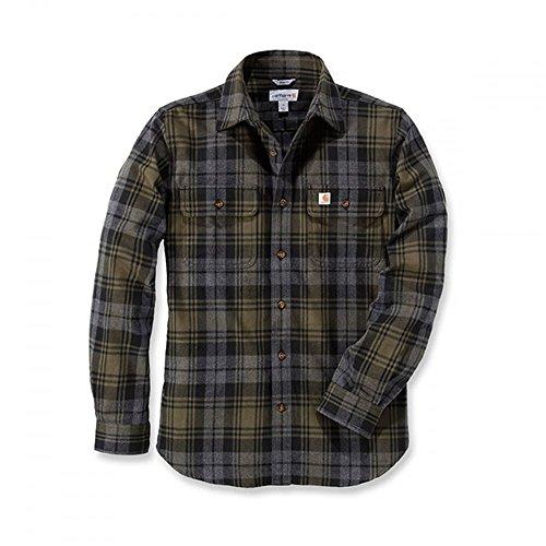 Carhartt Hubbard Slim Fit Flannel Shirt | Moss | Gr. M (T-shirt Rotes Moss)