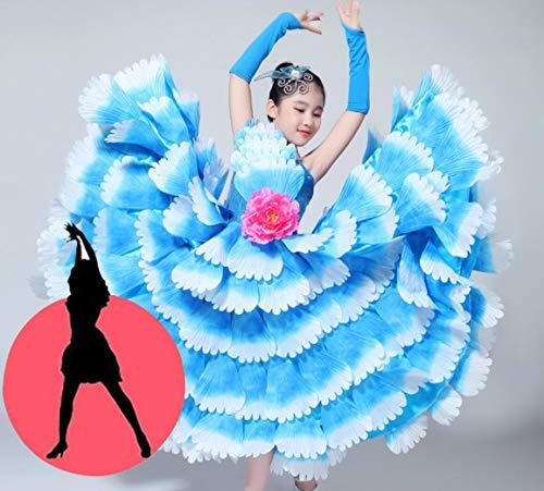 Mädchen Tänzer Kostüm - SMACO Blumendekoration Kinder Spanisch Tänzer Kostüme Sexy Flamenco Tanzen Kostüm Mädchen Leistung Flamenco Gesellschaftstanz Kleid,720°,140CM