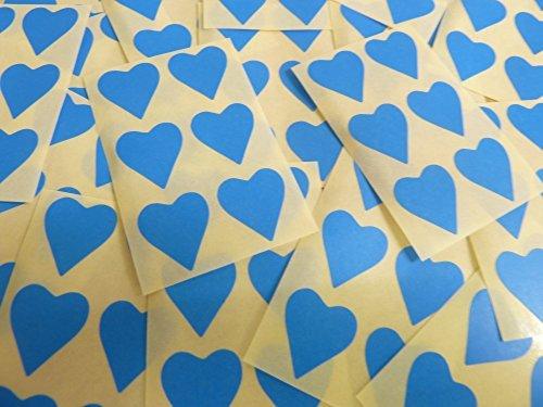 22x20mm Azul Medio Con Forma De Corazón Etiquetas, 90 auta-Adhesivo Código De Color Adhesivos, adhesivo Corazones para Manualidades y Decoración