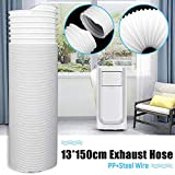EDQZ Klimaanlage Fensterabdichtung Kit, 13x150cm Universelles, Flexibles Abluftschlauch-Entlüftungsrohr für Mobil Klimaanlagen