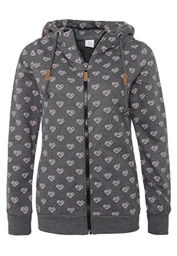 Sublevel Damen Sweat-Jacke mit Kapuze und Allover-Print Dark-Grey M