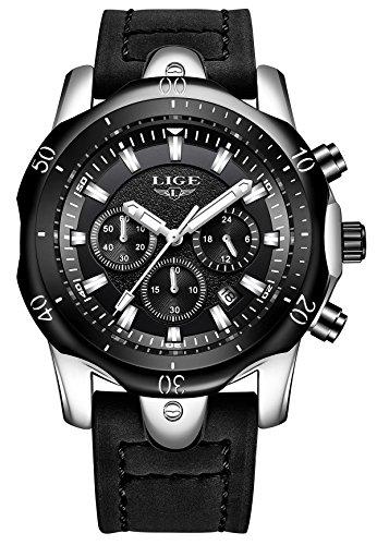 Herren Uhren, Männer Sport Chronograph Datum Kalender Armbanduhr Herren Luxus Mode Multifunktions Analog Quarzuhren Schwarz Leder