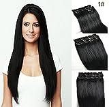 SHINING STYLE Clip In Extensions Haarverlängerung Hitzebeständig Glattes Haar in 45 cm 100g Länge #01 Schwarz