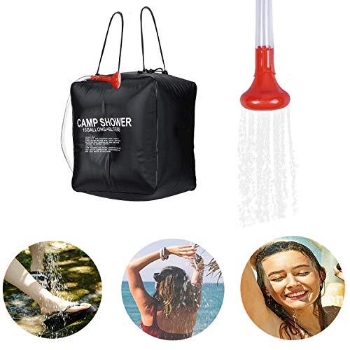 Qdreclod Campingdusche Solardusche Tasche, 40L Tragbare Solar Gartendusche Outdoor Warmwasser Dusche Reisedusche mit Duschkopf, Schlauch, Nylonseil mit Haken