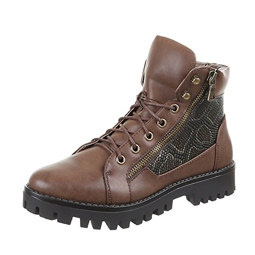 Ital - 098–pa, bottines Marron - Marron