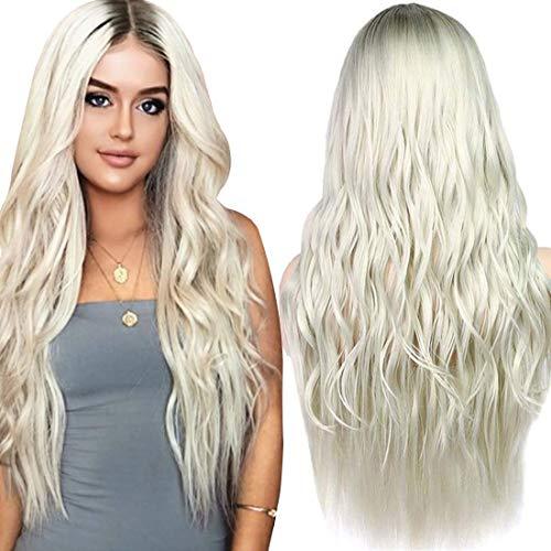 ATAYOU® 24 Zoll Lange Gewellte Blonde Ombre Synthetische Perücken für Frauen Enthalten 1 Perücke Kappe (Blond ()