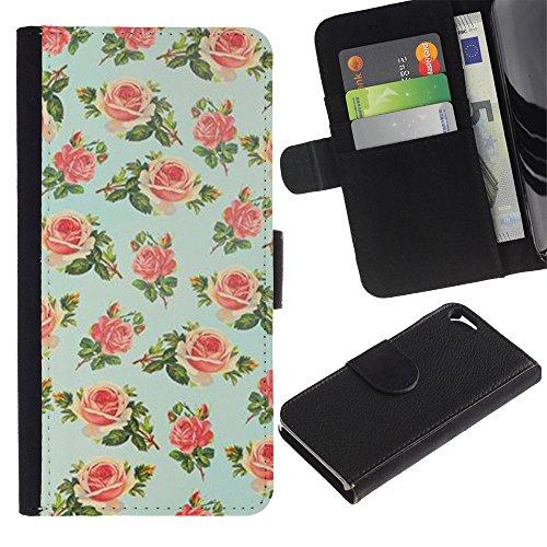Paccase / Portafoglio del Cuoio di vibrazione del Titolare della carta Custodia per - mint green floral rose wallpaper retro - Apple Iphone 5 / 5S