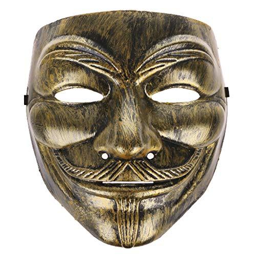 Einer Halloween Art Von Kostüm Ein - Hergon Halloween V Style Masken Fawkes Gesichtsmasken Masken Kostüme Cosplay Party Zubehör, Plastik, Gold, Colorful