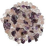 1 kg Bunte Trommelsteine ideal f. Kindergärten, Schatzsuche, Sand etc. Bunte Trommelstein Mischung mini - kleine Natur Steine Amethyst Rosenquarz Bergkristall