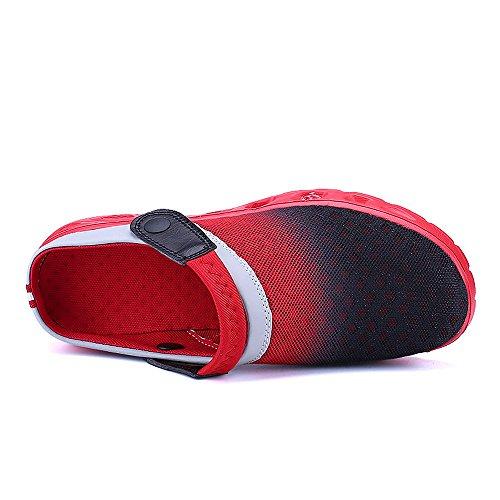 Bwiv zoccoli leggeri e trasipranti unisex ciabatte da spiaggia con cinturino delle taglie 37-43 Nero e rosso