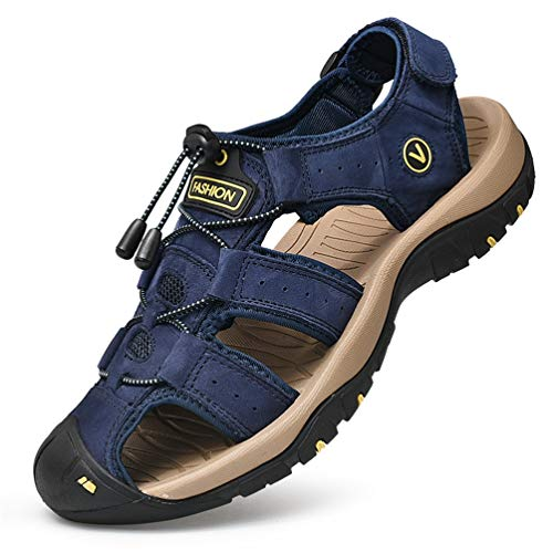 FLARUT Sandali Estivi Uomo Esterni PelleTraspirante Sandali Sportivi Scarpe da Trekking Passeggiata Fisherman Casual Sneakers Antiscivolo(Blu,45)