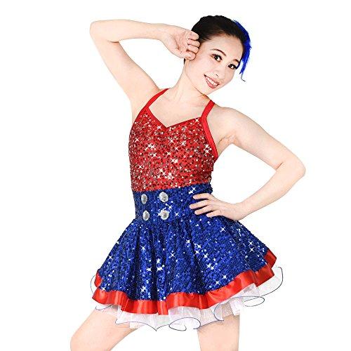 Tanz Lyrischen Solo Kostüme (MiDee Hemdchen, Oder So Was Pailletten Gefalteten Tanz Kleid Lyrisches Kostüm (Rot/Blau,)