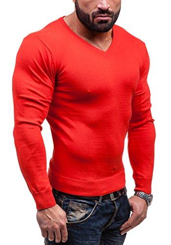 BOLF Herrenpullover Pulli Sweatshirt Sweatjacke Sweater V-Neck GLO-STORY 1813 Rot