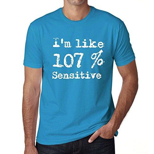 I'm Like 107% Sensitive, ich bin wie 100% tshirt, lustig und stilvoll tshirt herren, slogan tshirt herren, geschenk tshirt Blau