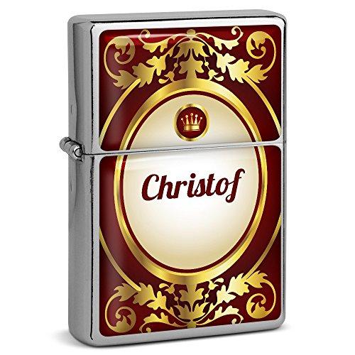 PhotoFancy® - Sturmfeuerzeug Set mit Namen Christof - Feuerzeug mit Design Ornamente - Benzinfeuerzeug, Sturm-Feuerzeug