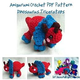 Little Dinosaur Triceratoops Amigurumi Crochet Pattern Ebook