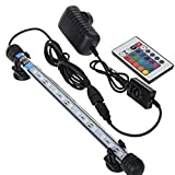 Glighone Lámpara de Acuario Luces para Acuarios Peceras y Estanques 12 LED 3W 12 RGB Color de...