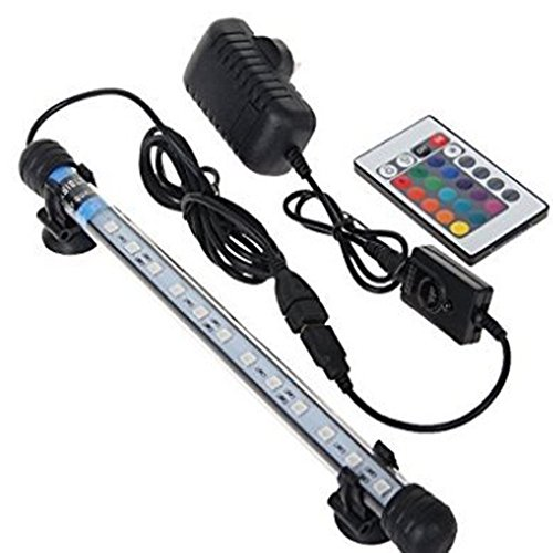 Glighone Lámpara de Acuario Luces para Acuarios de Peces y Estanques 18 LED 4W 12 RGB Color Luz de Acuario para Plantas Sumergible Enchufe EU