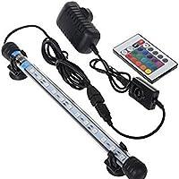 Glighone Lámpara de Acuario Luces para Acuarios de Peces y Estanques 18 LED 4W 12 RGB Color Luz de Acuario para Plantas Sumergible Enchufe EU