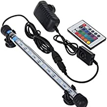 Glighone Lámpara de Acuario Luces para Acuarios Peceras y Estanques 12 LED 3W 12 RGB Color de Acuario Sumergible Enchufe EU