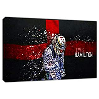 Formula 1 Lewis Hamilton Flag ON Framed Canvas Wall Art Home Decoration 12''x 8''inch -38mm Depth