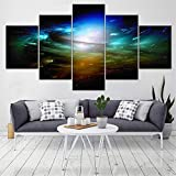 Rjjrr 5 Panel Earth Canvas Art Picture Space Art Prints Modern Abstract Painting Cosmos Universe Canvas Pictures For Home Decoraction Decor del dormitorio 30x40cm