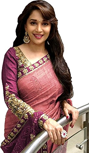 Arawins Party Wear Madhuri Bollywood New Collection Pink Bhagalpuri Silk Embroidered Saree