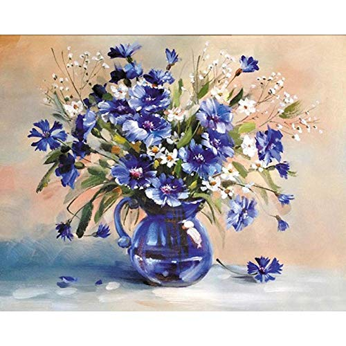 Huizheng Malen nach Zahlen auf Leinwand - Royal Blue Vase 16 X 20 Zoll ungerahmt (Royal Vase Blue)