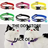 #9: Pet Puppy Cat Dog Kitten Reflective Collar Safety Buckle with Bells Adjustable Pack of 2