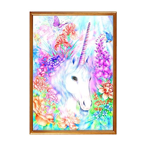 DIY 5D Diamond Painting, White Unicorn Crystal Rhinestone Diamond Embroidery Paintings Pictures Arts Craft for Home Decoration 30cm X 40cm