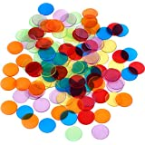 120 Piezas de Contador de Color Transparente Marcador de Plástico Chips Bingo con Bolsa de Almacenaje