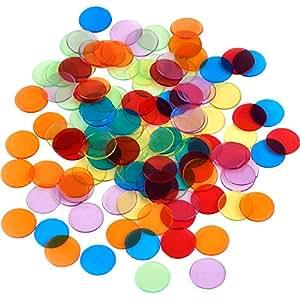 120 Pièces Compacteurs de Couleur Transparents Bingo Chips Marqueurs en Plastique avec Sac de Rangement