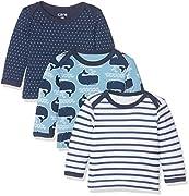 Care Baby-Jungen Langarmshirts Barba, 3er Pack, Mehrfarbig (Deep Skye Blue 720), 62