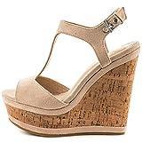 Lutalica Frauen Sexy Wildleder Extreme hohe Plattform Knöchelriemen Keilabsatz Sandalen Schuhe Nackt Größe 35 EU