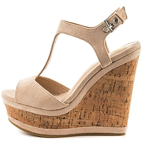 Lutalica Frauen Sexy Wildleder Extreme hohe Plattform Knöchelriemen Keilabsatz Sandalen Schuhe Nackt Größe 41 EU