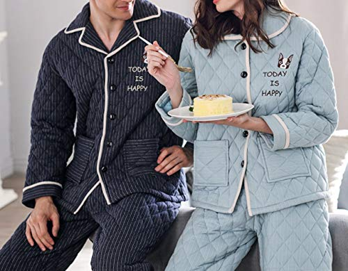JZX Couple Pajamas, Three Layers of Quilted Cotton Thickening Cartoon Loose Men and Women Large Size Home Service Suit,Bleu Saphir,M