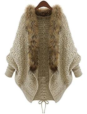 YOGLY Cardigan Chaqueta de Mujer Cárdigan Suelto de Talla Grande Suéter Abrigo Cuello de Piel Outwear Casual Abrigo...