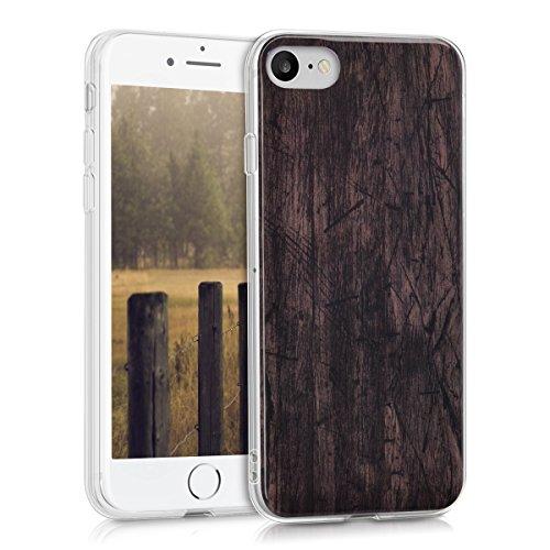 kwmobile Hülle für Apple iPhone 7 / 8 - TPU Silikon Backcover Case Handy Schutzhülle - Cover klar Vintage Holz Design Dunkelbraun