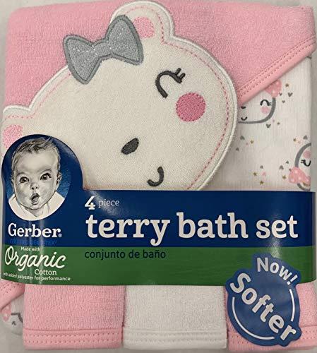Gerber Newborn Baby Girl Organic Towel and Washcloths Bath Gift Set, 4-Piece