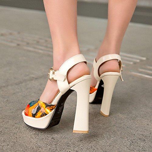TAOFFEN Damen Mode Blockabsatz Sandalen Floral Slingback Fesselriemen Shoes Beige