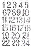 marinamalina adventskalender Zahlen aufbügeln Adventszahlen zum Aufbügeln Aufkleber Hotfix Bügelbild Textilaufkleber Glitterfolie Glitzerfolie bunt 24 Stück