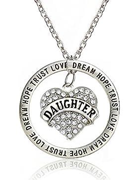 Silberne Halskette mit Daughter Anhänger Inschrift Familie Liebe Tochter
