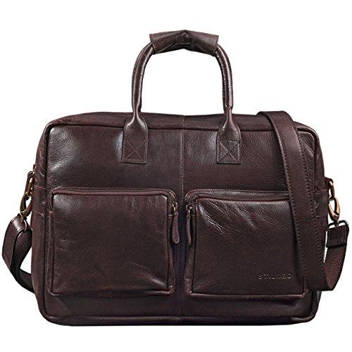 STILORD 'Henri' Bürotasche Leder 15,6 Zoll Vintage Laptop Aktentasche Businesstasche Umhängetasche Lehrertasche Büffelleder, Farbe:schokoladen - braun