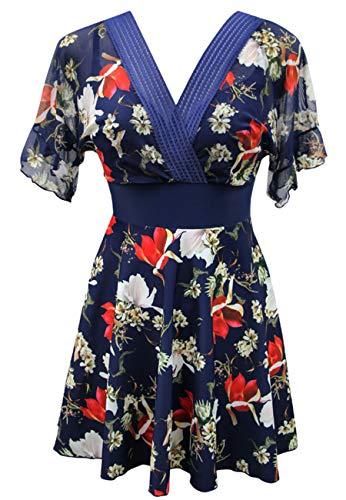 Ecupper Damen Badekleid mit Shorts Bügel Gepolstert Einteiler Badeanzug High Waist Blumen Muster Große Größen Blau 3XL (Bügel Swimdress)