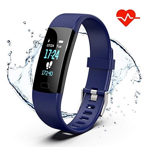 Akuti Fitness Armband mit Pulsuhr, Wasserdicht IP67 Fitness Tracker Uhr mit 4 Trainingsmodi/ 0,96 Zoll Farbbildschirm/Schrittzähler/Schlafmonitor/Anruf SMS Melden für Kinder Damen Herren, Blau