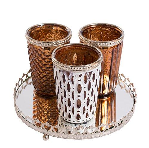 3er Windlichtset Teelichtglas mit Spiegelplatte Teelichthalter Kerzenglas Windlicht Glas...