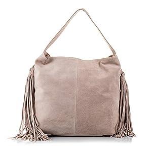 FIRENZE ARTEGIANI.Bolso shopping bag de mujer piel auténtica.Bolso hombro cuero genuino,piel GAMUZA.Bolso flecos. MADE IN ITALY. VERA PELLE ITALIANA. 42x34x12 cm
