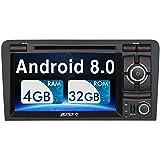 Pumpkin Android 8.0 Autoradio Radio für Audi A3 mit Navi Unterstützt Bluetooth DAB + WLAN 4G USB CD DVD Android Auto MicroSD Aux 2 Din 7 Zoll Bildschirm