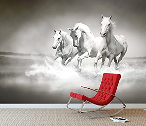 White Horse's Running Wall Mural Photo Wallpaper Wild Stallion Kids Bedroom (Large 1500mm x 1150mm)